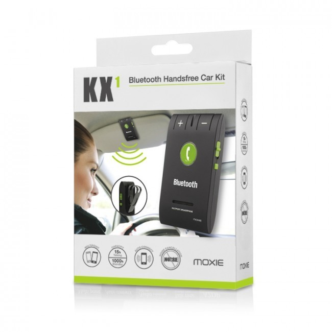 kit bluetooth main libre pour voiture noir kx1 moxie dispo. Black Bedroom Furniture Sets. Home Design Ideas
